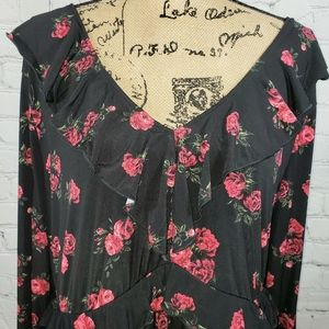 TORRID dress black with roses